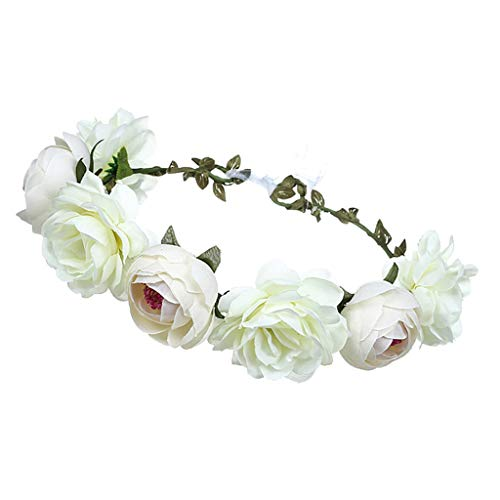 B Baosity Damen Haarkranz Kommunion Haarschmuck Blumen Stirnband Haarband Kopfbedeckung Hochzeit Fotografie Dekoration - Weiß