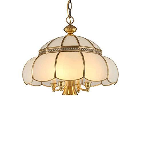 MoiHL Europäische Retro Kronleuchter Glas Lampenschirm Wohnzimmer Esszimmer Schlafzimmer American Copper Pendelleuchte -