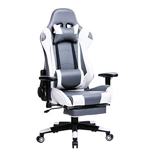 WOLTU Gaming Stuhl Racing Stuhl Bürostuhl Chefsessel Schreibtischstuhl Sportsitz mit Kopfstütze und Lendenkissen, Armlehne verstellbar, mit Fußstütze, Kunstleder, höhenverstellbar, Grau+Weiß, BS14grw
