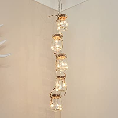 Glass Jar Fairy Lights - Silver Wire - Warm White LEDs - Timer - Battery Powered by Festive Lights - cheap UK light store.