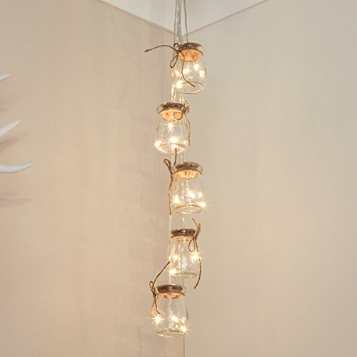 Glass Jar Fairy Lights - Silver Wire - Warm White LEDs - Timer - Battery Operated by Festive Lights