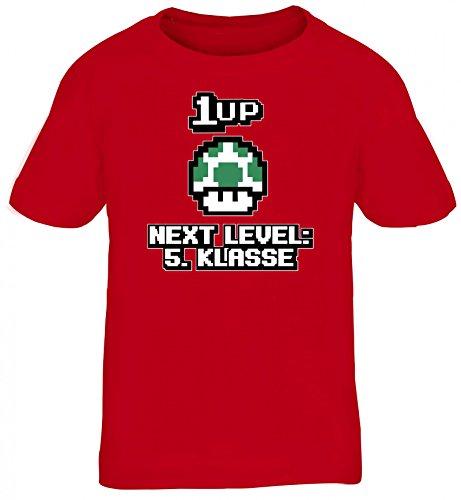 Videospiel Gamer Schulstart Schulkind Kinder T-Shirt Rundhals Mädchen Jungen Retro Gamer 1 up Pilz - Next Level 5. Klasse, Größe: 134/146,Rot