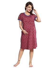 3058aa620c6 TUCUTE Women s Hosiery Short Feeding 1885 Nursing Maternity Nighty Nightwear  Nightdress with