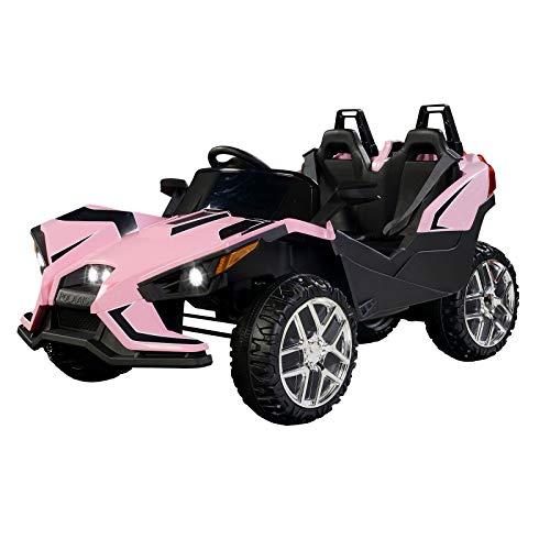 UEnjoy 2 Sitze Kinderauto Auto Elektro für Kinder mit Fernbedienung, 4 Geschwindigkeiten,LED Leuchten,Musik (Rosa)