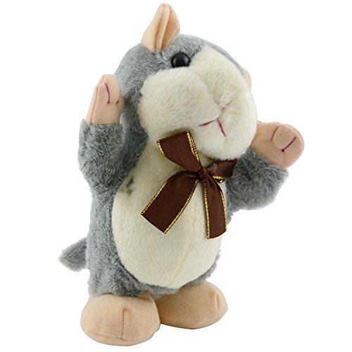 nean Laufender Plüschhamster Hamster Speedy mit Schleife und Aufnahme- & Wiedergabefunktion Grau