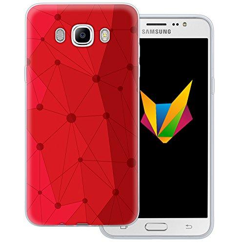 Mobilefox Grafik transparente Silikon TPU Schutzhülle 0,7mm dünne Handy Soft Case für Samsung Galaxy J7 (2016) Grafik Atomium Rot - Cover Gel Hülle