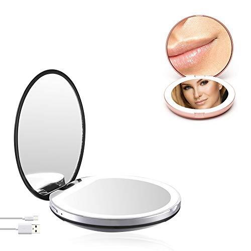 Espejo de maquillaje LED compacto, espejo de viaje con LED Espejo portátil plegable de doble cara HD/Espejo...