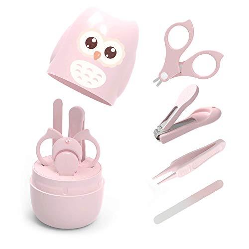 Baby Nagelpflege 4 in 1 Set, Babypflege Baby Maniküre Set mit sicherem Baby Nagelknipser,Schere,Pinzette und Nagelfeile für Kinder und Neugeborene in süßer Eule Geschenk-Verpackung