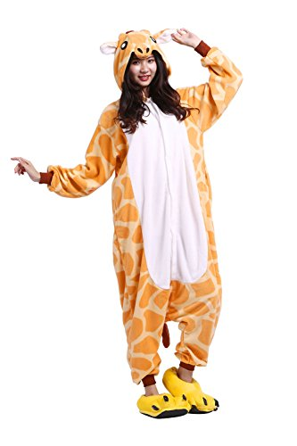 (Hstyle Unisex-Erwachsene Onesies Pyjamas Halloween Cosplay Kostüme, Overalls Weihnachtsgeschenke Giraffe Klein)