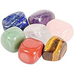 Healifty Cristales de curación Cristales de curación irregulares 7 Piedras preciosas y piedras de preocupación de colores para la puesta a tierra Equilibrio Meditación calmante 10-20 mm