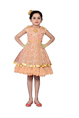 White World Baby Girls Orange Color Party wear Frock -7-8 Years