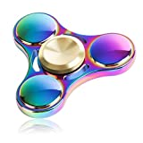 #8: Photron PH-FDM20 High Grade Rainbow Tri Fidget Spinner Equipped with Stainless Steel Bearing with Metal Box