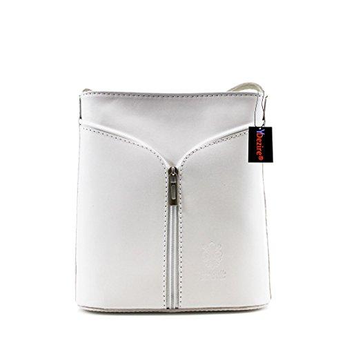 Da donna in vera pelle a tracolla da donna, borsetta a tracolla New White