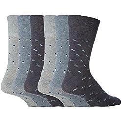 6 pares de mens Gentle Grip sin calcetines elásticos, 39-45 eur colores surtidos cuadrados (MGG19)