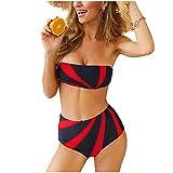 Sexy Due Pezzi Bikini Push Up Donna Costume da Bagno Costumi Mare Vita Alta Brasiliano Beachwear Swimwear,RedBlack,XL