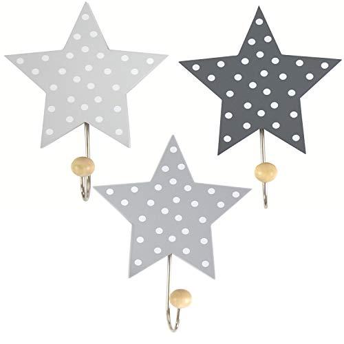 Weiße Kinder-möbel (LS-LebenStil Kinder Kleiderhaken Set 3 Sterne Grau Weiß 11x11x15cm Wandhaken Garderobe)