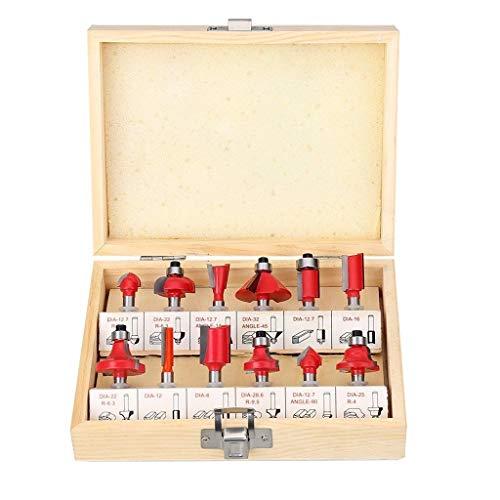Barlingrock 12 Pcs 1/4Inch Mühle Set, Mühlen Bohrer Bit Werkzeug, Schaft Fräser Maschine Set Router Bits für Holzschneider Drehmaschine gerade Schaft Ende Mühle Cutter Werkzeug Set -