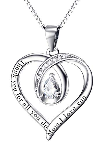 Gifts for Mum Necklace Mum Gifts Birthday Gifts for Mum Silver Necklace Mum Necklace I Love You Mum Thank You for All You Do Heart Necklace for Nana (For Mom Heart 20inch)