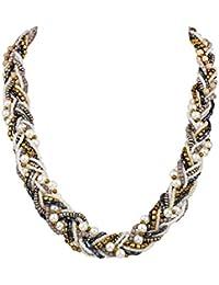 """SIX """"Trend"""" Damen Halskette, geflochtene Statement-Kette mit Perlen in Weiß, Blau, Grau, gold (458-090)"""