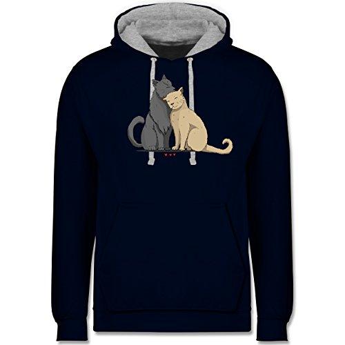 Katzen - kuschelnde Katzen - Kontrast Hoodie Dunkelblau/Grau meliert