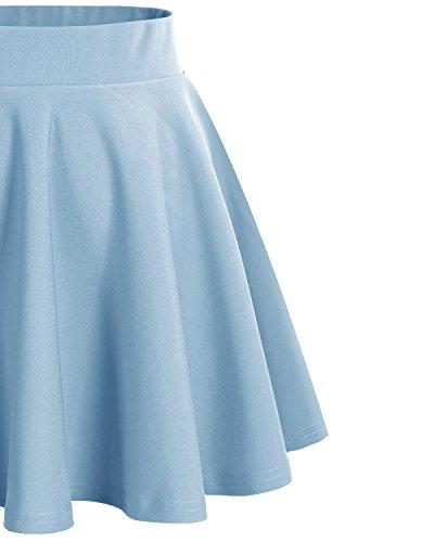 Dresstells Damen Basic Solide vielseitige Dehnbar Informell Mini Glocken Light Blue
