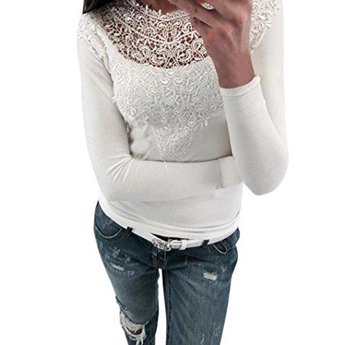Bekleidung Kolylong® Damen Elegant V-Ausschnitt Spitze Blusen Vintage Schulterfrei Sweatshirt Festliche Oberteile Langarm Shirt Spitzenbluse Slim Fit Basic Shirt Pullover Pulli Top (Weiß-b, M) (Langarm-fashion-tee)
