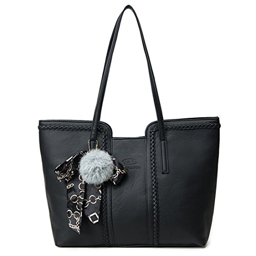 YYW leather tote bag, Borsa a mano donna Black