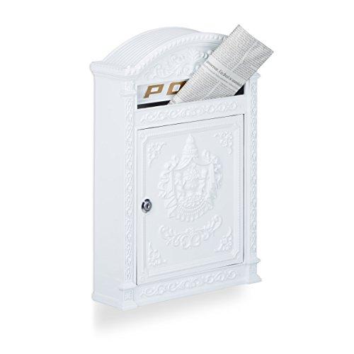 Relaxdays Briefkasten Antik, Englischer Wandbriefkasten, Aluguss, Briefschlitz für DIN A4, HBT: 44,5 x 31 x 9,5 cm, weiß