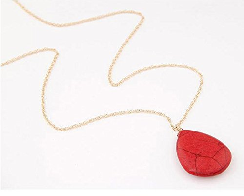 Cinderella Collection by Shining Diva Golden & Red Gemstone Pendant with Chain for Women 7132np