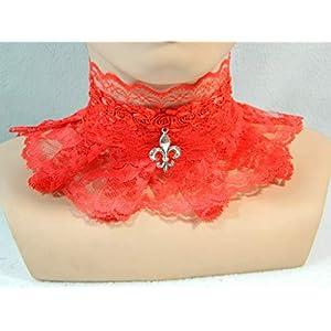 Halsband knall rot Fleur de Lys Burlesque sexy Lolita Gothic Karneval Pin up Choker
