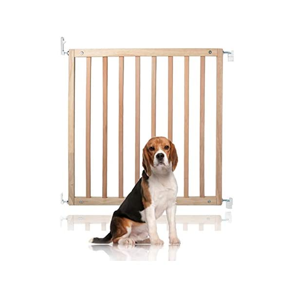 Bettacare Simply Secure Wooden Screw Fit Gate (Natural) Bettacare Adjusts to fit openings from 72cm - 79cm Screw fit wooden gate in 5 colours; White, Natural, Grey, Black and Azure Blue One handed operation. Opens in both directions 1