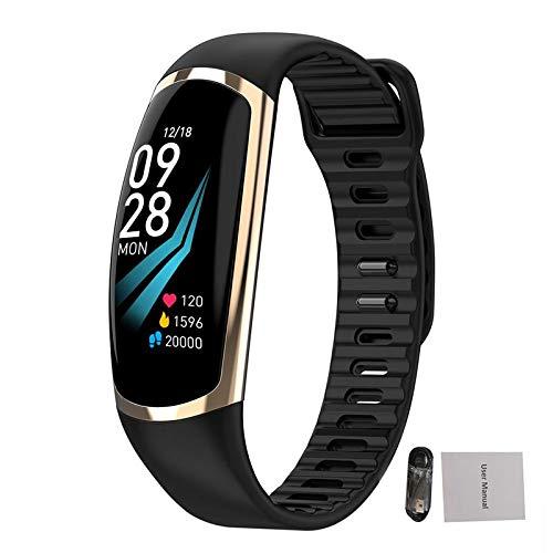 Gold-farb-bildschirm (ZGYYDY Smart-Sportarmband Smart-Armbanduhr, 0,96 Zoll, gebogener Farb-Bildschirm, Schrittzähler, Schrittzähler, wasserdicht, intelligente Erinnerung., Gold)