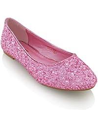 fafb573d75ca ESSEX GLAM Damen Glitzer Ballerinas Flach Klassische Brautschuhe Pumps  Party Schuhe