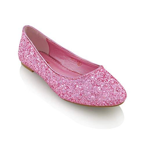 ESSEX GLAM Damen Glitzer Ballerinas Flach Klassische Brautschuhe Pumps Party Schuhe (EU 41, New PINK Glitter) (Glitter-schuhe)