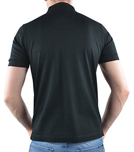 OLYMP Poloshirt Halbarm geknoepft Kurzarm Schwarz
