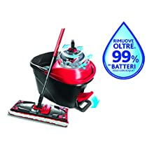 Vileda Revolution 163870 Turbo Mop System with Centrifuge, Pedal and 1 Microfibre Cloth, Black/Red