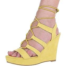 Damen Schuhe, 1336-KL, SANDALETTEN, PUMPS MIT SCHNÜRUNG, Synthetik in hochwertiger Wildlederoptik , Gelb, Gr 40