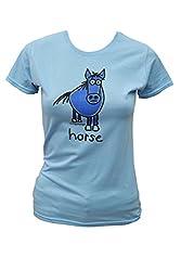 Womens 'Horse' Sky blue T.shirt