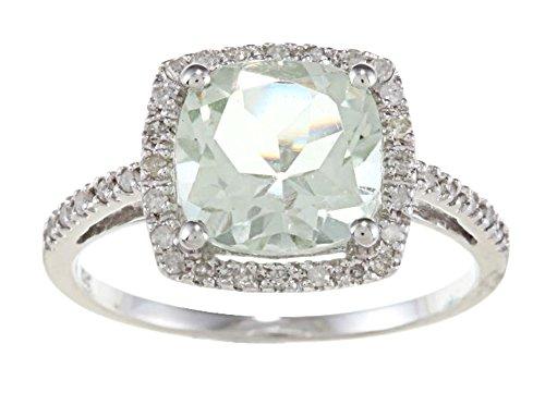 10k Weißgold Kissen Grüner Amethyst und Diamant Ring (1/4 cts)- size 6.5 (Ring Weißgold Amethyst Grüner)