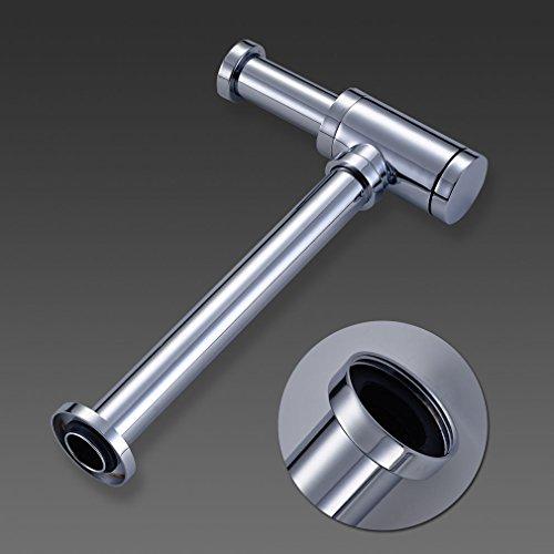 Auralum® Sifon Siphon verchromt zylindrisch Edelstahl Röhrensiphon Röhrensifon Ablauf für Waschbecken Waschtisch