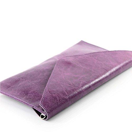modamoda de - Made in Italy T106G Pochette in pelle liscia, da donna Lila