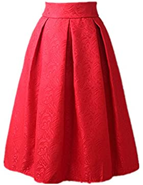 Uideazone Moda floral de la falda de talle alto de las mujeres plisadas acampanados Midi Faldas S-L