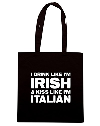T-Shirtshock - Borsa Shopping TIR0034 drink like irish kiss like italian dark tshirt Nero