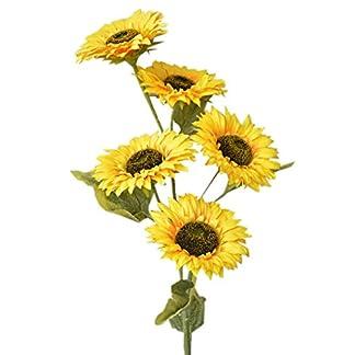 Girasol Artificial con Cinco Flores para Decoración Realista. Hogar y Más