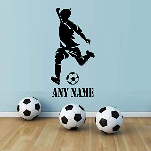 Personalisierte Jungen Name Wandkunst Aufkleber Fußball Spieler Abnehmbare Vinyl Sport Wandtattoos Wohnkultur Teens Boy Room Grau 42x85 cm -