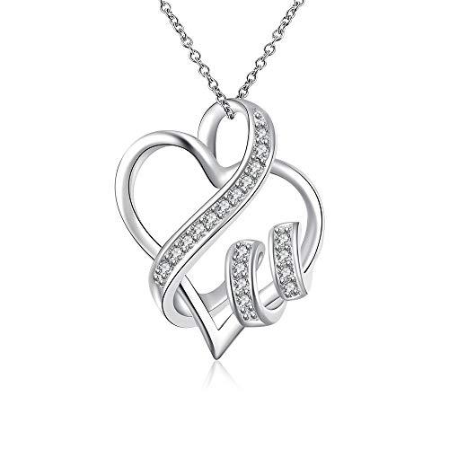 Halskette in Herzform, mit Kristallen und silberfarbenem Band Kostüm-Schmuck für Frauen, ideal für Weihnachten und Geburtstagsgeschenk für Mutter, Freundin oder geliebte Menschen. Halskette und Anhänger Silber