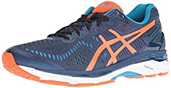 ASICS Mens Gel-Kayano 23 Running Shoe, Poseidon/Flame Orange/Blue Jewel, 7 M US