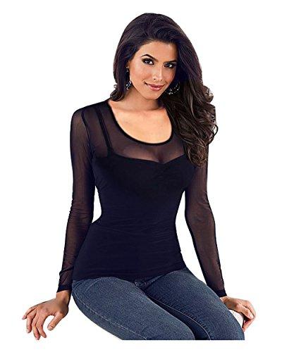 Mangotree Oberteile Damen Langarm Shirt Tiefes V Tief-Geschnitten Hemd Transparent Mesh Clubwear Bluse Body T-Shirt Tunika Tops (M: 34/36, Schwarz #B)