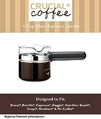 Universal Fit 4 Cup Glass Espresso Carafe, Fits Braun E20, Capresso 301, Krups 864, Mr. Coffee ECM10 & Many More, Compare to Part # EXP100