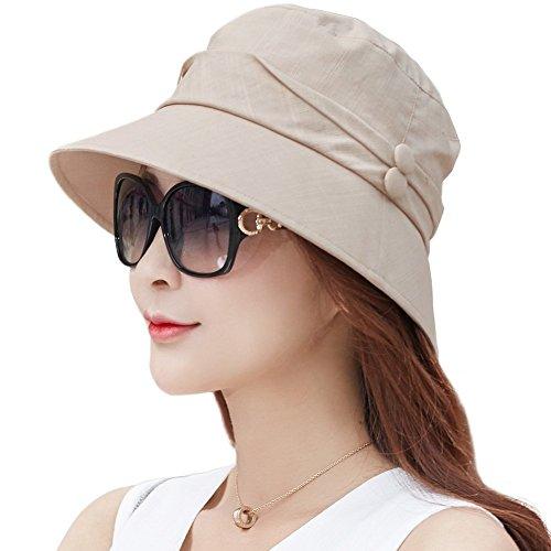 SIGGI Baumwolle Damen Sonnenhüte Sonnen Shade mit Kinnriemen faltbarer SPF 50 + khaki